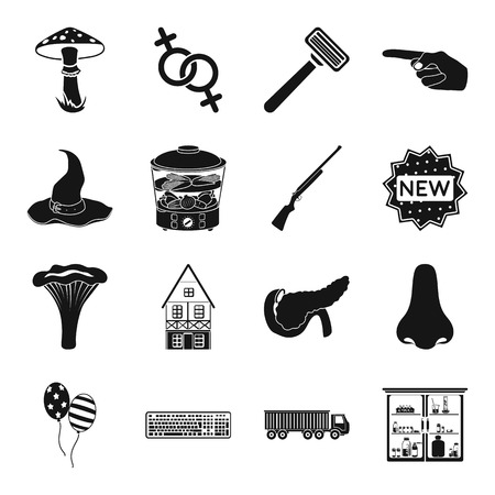 Medicine, logistics, computer and other web icon in black style. weapons, hairdresser, gay