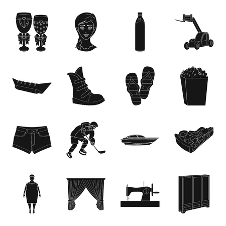 plait: Sports, medicine, travel and other web icon in black style.transport, atelier, Furniture icons in set collection. Illustration