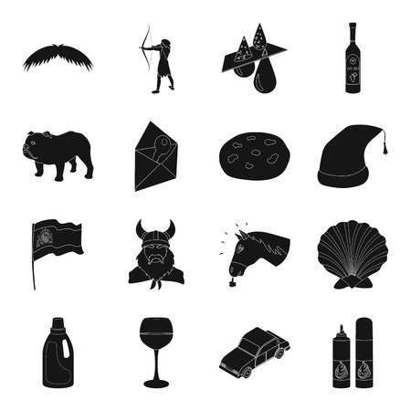 cap hunting dog: hairdresser, breed, food and other web icon in black style.alcohol, animal, transport, computeri cons in set collection. Illustration