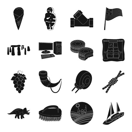 interesting: Parking, food, England, antiquity and other web icon in black style.milk, product, interesting icons in set collection.