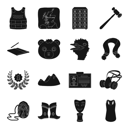 mongolia: Crime, Mongolia, animal and other web icon in black style.territory, computer, Mine, justice icons in set collection. Illustration