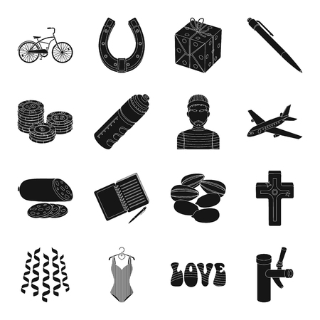 Pub, food, roulette, game and other web icon in black style.transportation, garden, education, party icons in set collection. Illustration