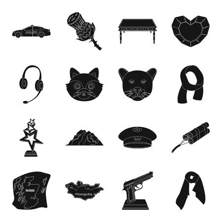 Detective, accessoires, bioscoop en andere web-pictogram in zwarte style.mine, landmark, dierlijke pictogrammen in set collectie. Stock Illustratie