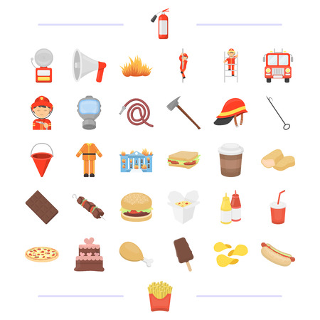 Fast food, cafe, business and other  icon in cartoon stylechips, sausage, protection. icons in set collection Illustration