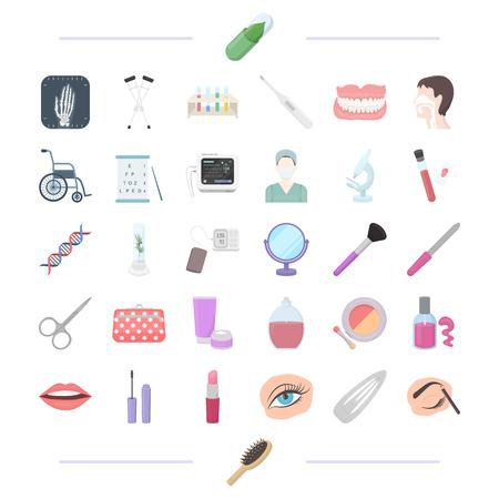 Laboratoire, cosmétologie, maquillage et autre icône de dessin animé style.pencil, peigne, icônes de médecine dans la collection de jeu. Banque d'images - 81418606