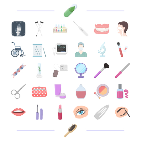 Laboratory, cosmetology, makeup and other  icon in cartoon style.pencil, comb, medicine icons in set collection.
