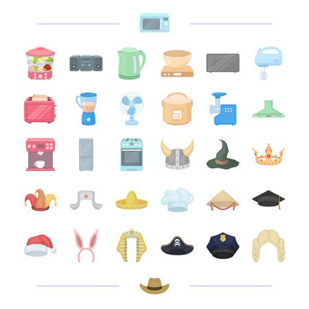 apparatuur, thuis, elektro en ander icoon in cartoonstijl., hoofd, kleding, techniek iconen in set collectie