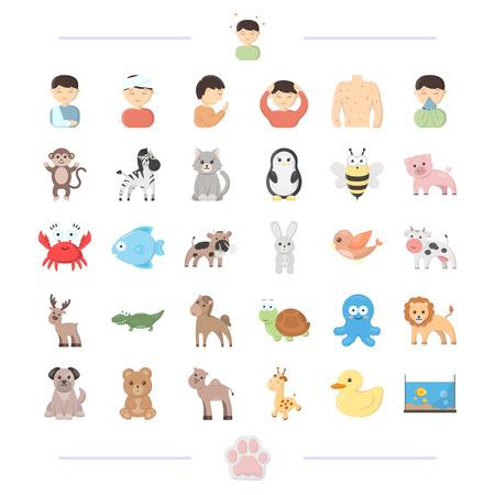 varicela: medicina, prevención, ecología y otro icono de la web en estilo de dibujos animados. domésticos, dickies, fauna, iconos en la colección de conjunto.