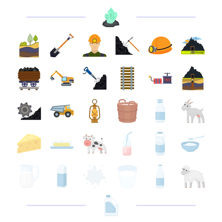 Milk products, animals and other web icon in cartoon style.stain, sheep, canister, icons in set collection.