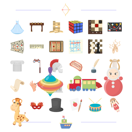 Entertainment, recreation, tourism and other web icon in cartoon style.doll, steamer, toys, icons in set collection. Illustration