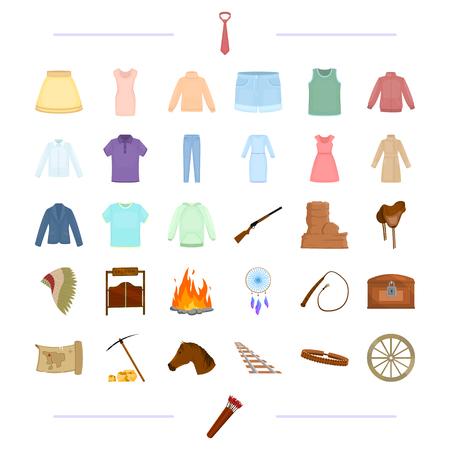 sueter: turismo, América, vaqueros y otro icono de la web en estilo de dibujos animados. Ropa interior, accesorios, viajes, iconos en la colección de conjunto.