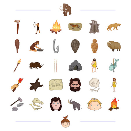 Neolithic, prehistoric, hunting and other web icon in black style. mining, drawing, weapons icons in set collection. Illustration