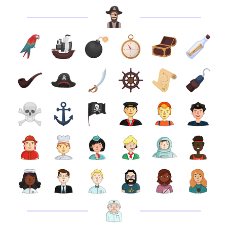 dispatcher: Pirate, profession, service and other web icon in black style.education, travel, treasure icons in set collection. Illustration