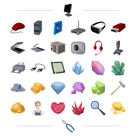 Computer hardware and other web icon in cartoon style. Precious, stone, processing icons in set collection.