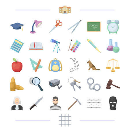 Punishment, teaching, education and other web icon in cartoon style, mask, grating, crime, icons in set collection.