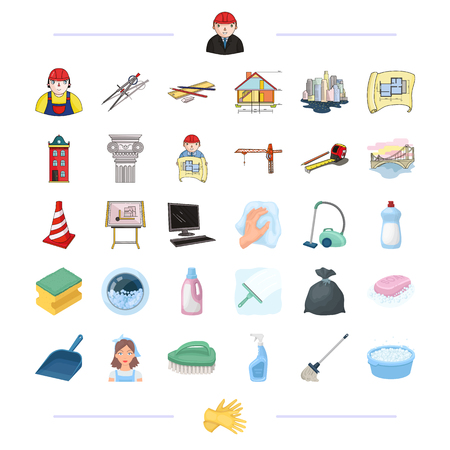 Architecture, construction and other web icon in cartoon style. Cleaning, cleanliness, garbage, washing icons in set collection.