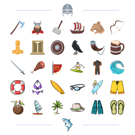 Vikings, weapons, symbols and other web icon in cartoon style. Surfing, sport, hobby icons in set collection.
