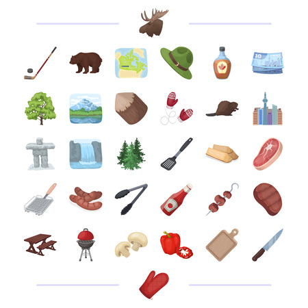 grill tongs sausage: picnic, walk, business and other web icon in cartoon style.knife, mitten, rest, icons in set collection.