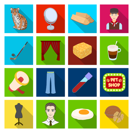 reflection in mirror: recreation, medicine, industry and other web icon in flat style. picnic, nature, sports, icons in set collection.