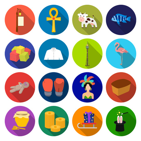 business, textiles, nature and other  icon in flat style. recreation, entertainment, restaurant, icons in set collection Illustration