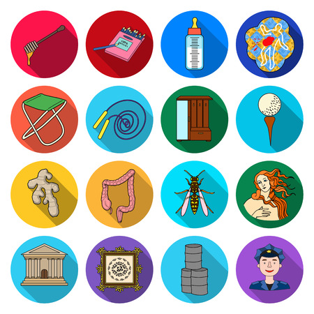 investigating: Business, ecology, history and other web icon in flat style. policeman, tourism, trade icons in set collection.