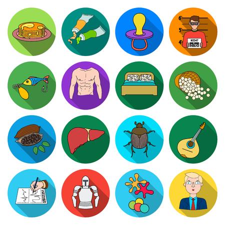 Concert-, bedrijfs-, sport- en ander webicoon in vlakke stijl. geneeskunde, café, rust, reizen, pictogrammen in set collectie.