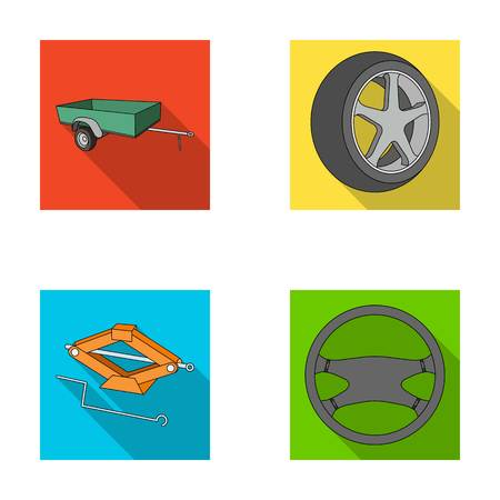 tire cover: Caravan, wheel with tire cover, mechanical jack, steering wheel, Car set collection icons in flat style vector symbol stock illustration web.