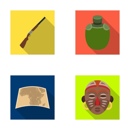 thirsty: Hunting rifle, flask in the case, map, African mask. African safari set collection icons in flat style vector symbol stock illustration web.