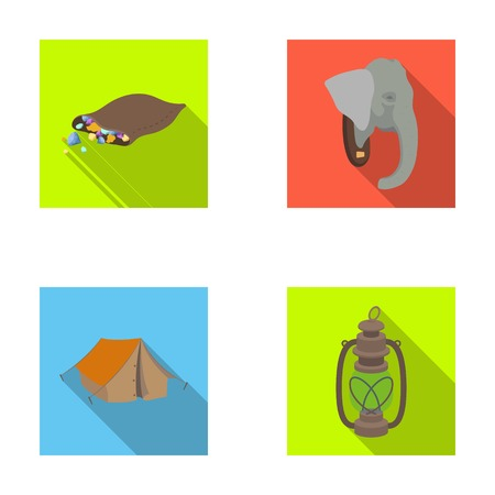 A bag of diamonds, an elephants head, a kerosene lamp, a tent. African safari set collection icons in flat style vector symbol stock illustration web.