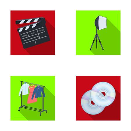 dvd room: Movies, discs and other equipment for the cinema. Making movies set collection icons in flat style vector symbol stock illustration web.