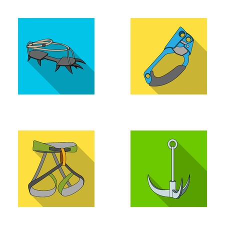 strapping: Hook, mountaineer harness, insurance and other equipment.Mountaineering set collection icons in flat style vector symbol stock illustration web.