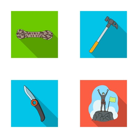 Climber on conquered top, coil of rope, knife, hammer.Mountaineering set collection icons in flat style vector symbol stock illustration web.
