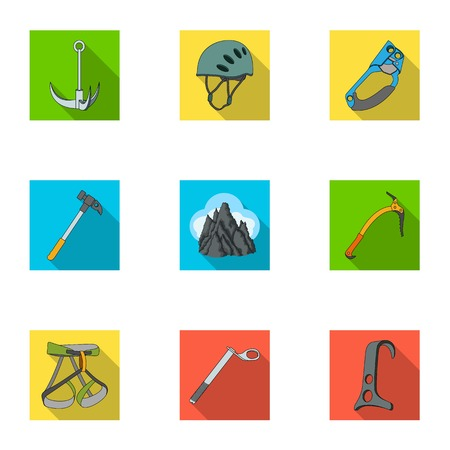 mountaineering: Ice ax, conquered top, mountains in the clouds and other equipment for mountaineering. Mountaineering set collection icons in flat style vector symbol stock illustration web. Illustration