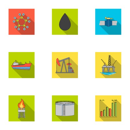 Oil rig, pump and other equipment for oil recovery, processing and storage.Oil set collection icons in flat style vector symbol stock illustration web.