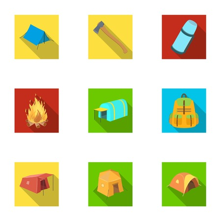 Various kinds of tents and other tourist accessories. The tent set collection icons in flat style vector symbol stock illustration web.