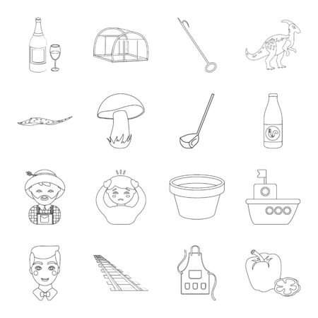 animals, alcohol, plants and other  icon in outline style. sport, history, agriculture icons in set collection.