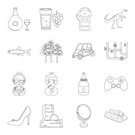 alcohol, education, medicine and other  icon in outline style. cooking, make-up, plumbing, travel icons in set collection.