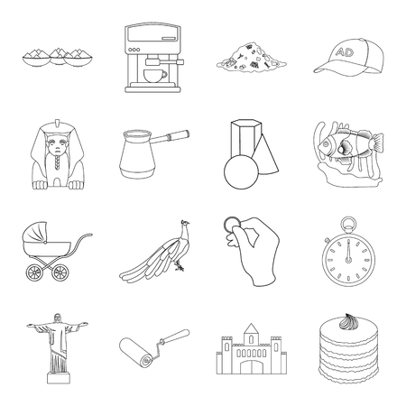 interesting: ecology, animals, finance and other  icon in outline style.cooking, interesting,building icons in set collection. Illustration