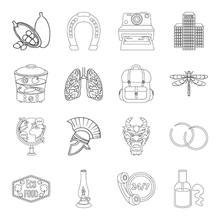 日本: Medicine, cooking, travel and other web icon in outline style.training, lighting, taxi icons in set collection.  イラスト・ベクター素材