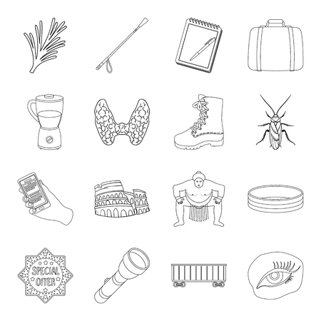 Medicine, travel, sports and other web icon in outline style.training, insect, transportation icons in set collection. Ilustrace