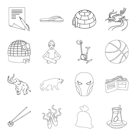 Myth, fitness, food and other web icon in outline style.Education, sport, history icons in set collection.