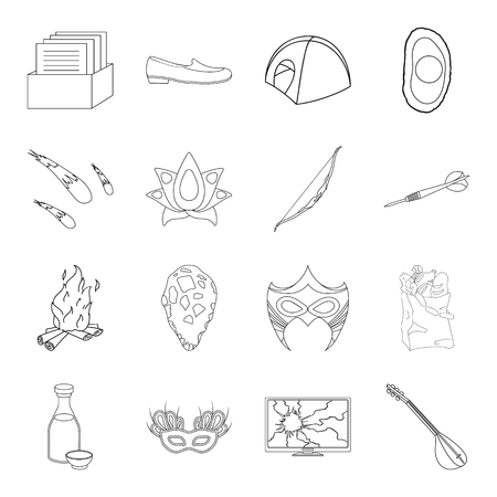 Fitness, space, Brazil and other web icon in outline style.Prehistoric, shopping, music icons in set collection. Çizim