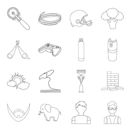 Bars, glasses, teacher and other web icon in outline style.Gas, table, cubes icons in set collection.