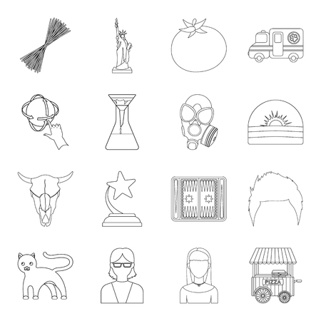 hair mask: Veterans, history, sport and other web icon in outline style.Education, service, weather icons in set collection. Illustration