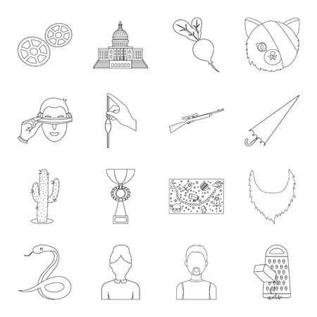 kitchen, country, sport and other web icon in outline style.weapons, animals, chemistry icons in set collection.
