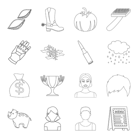 army boots: Science, finance, sport and other web icon in outline style.service, army, veterinarian icons in set collection.