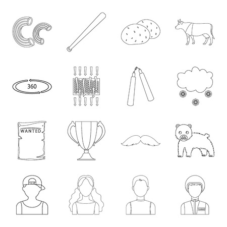 narrator: Army, sport, technology and other web icon in outline style. weather, animal husbandry, television icons in set collection.