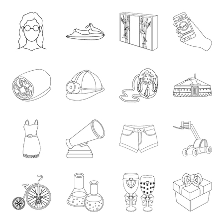 mongolia: Sport, science, transportation and other web icon in outline style.art, service, medicine icons in set collection.