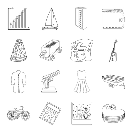 Financiën, vervoer, voedsel en ander Webpictogram in overzichtsstijl huwelijk, sport, de dienstpictogrammen in vastgestelde inzameling.