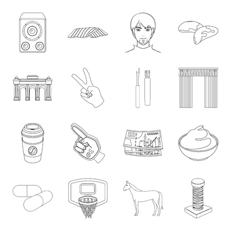 cottage cheese: Scraper, sewing, sport and other web icon in outline style.health, history, finance icons in set collection. Illustration